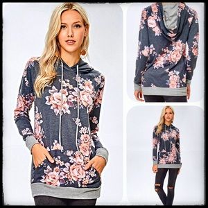 Gray floral rose print French terry hoodie